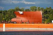 stock photo of shipbuilding  - Part of large ship bow under construction - JPG