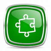puzzle glossy computer icon on white background