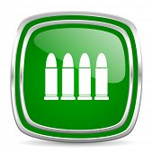 ammunition glossy computer icon on white background