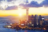 HongKong sunset with office buildings
