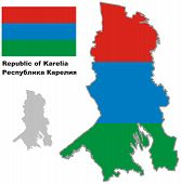 Outline Map Of Karelia With Flag