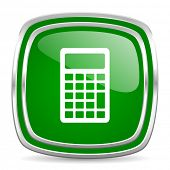 calculator glossy computer icon on white background