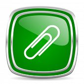 paperclip glossy computer icon on white background
