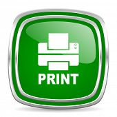 printer glossy computer icon on white background