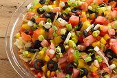 multicolored layered salsa dip