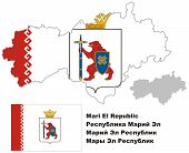 Outline Map Of Mari El With Flag