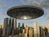 foto of suspenders  - Large UFO suspended on a modern city - JPG