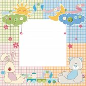 Baby frame or card with rabbit and bear. Vector