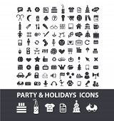 100 party, holidays, birthday, event, celebration icons, signs set, vector
