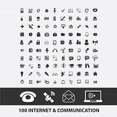 100 internet, connection, communication, network, mail, wireless, radio icons, signs set, vector