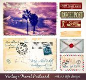 Travel Vintage Postcard Design with antique look and distressed style. Includes a lot of paper eleme