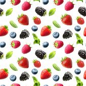 Falling berries isolated on white. Seamless pattern background