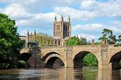 picture of hereford  - View of the Cathedral the Wye Bridge and the River Wye Hereford Herefordshire England UK Western Europe - JPG
