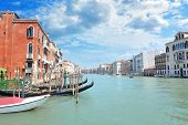Grand Canal in Venice, lined by lavish Venetian buildings