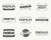 Satisfaction guaranteed vintage premium quality black vector labels and badges set and collection is