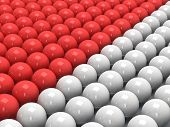 Red and white balls 3D.