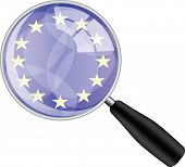 Magnifying glass with eu flag