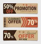 Price tag, sale coupon, voucher. Vintage Style template Design vector illustration.