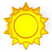 Golden sun icon, 3d