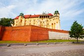 Walls of Wawel Royal Castle in Krakow, Poland