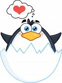 Baby Penguin Out Of An Egg Shell With Speech Bubble With Heart
