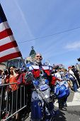 Man in Transformers costume with US flag