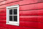 Window in red shed wall
