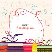 Stylish greeting card design for Happy Friendship Day with colorful gift boxes.