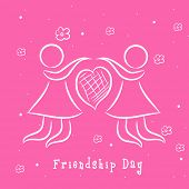 Sketch of two girls holding hands on bright pink background for Happy Friendship Day.
