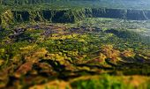 Villages situated in the caldera of old giant volcano. Bali, Indonesia. Tilt shift effect