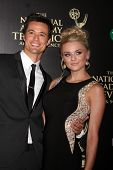 LOS ANGELES - JUN 22:  Matthew Atkinson, Hunter King at the 2014 Daytime Emmy Awards Arrivals at the