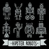 pic of avatar  - Hipster robot retro humanoid avatar black silhouette icons set isolated vector illustration - JPG