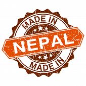 Made In Nepal Vintage Stamp Isolated On White Background