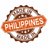 Made In Philippines Vintage Stamp Isolated On White Background