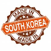 Made In South Korea Vintage Stamp Isolated On White Background