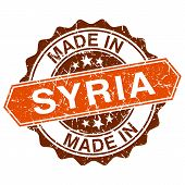 Made In Syria Vintage Stamp Isolated On White Background