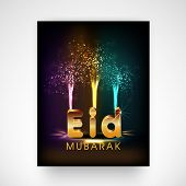 Colourful fireworks with golden text Eid Mubarak, beautiful flyer or template design for celebrations of muslim community festival.