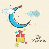 Shiny blue crescent moon with hanging colorful gift box in colorful sky background for Muslim community festival Eid Mubarak celebrations.
