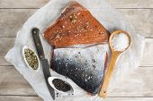 foto of chums  - Smoked marinated salmon and ingredients on the kitchen table - JPG