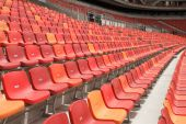 stock photo of nelson mandela  - rows of seats in the nelson mandela bay stadium  - JPG