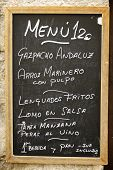 closeup of a typical spanish menu in Cuenca, Castilla La Mancha, Spain.