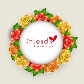 Stylish sticker, tag or label design with colourful flowers for Happy Friendship Day.