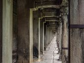 Corridor at the Ancient Angkor Wat Temple, Siem Reap, Cambodia