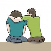An image of a man comforting a sad man.
