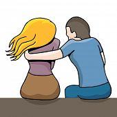An image of a man comforting a sad woman.
