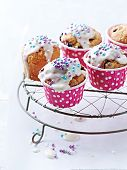 Colorful Muffins with White Chocolate Glaze and Sugar Pearls
