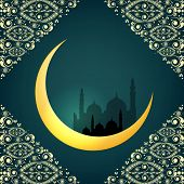 Crescent golden moon on floral decorated green background for holy month of Muslim community Ramadan Kareem.
