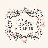 Beautiful floral decorated frame with stylish text Salam Aidilfitri on beige background for Muslim c