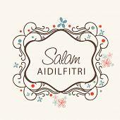 Beautiful floral decorated frame with stylish text Salam Aidilfitri on beige background for Muslim community festival Eid Mubarak celebrations.