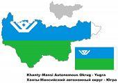 Outline Map Of Khanty-mansi Autonomous Okrug With Flag